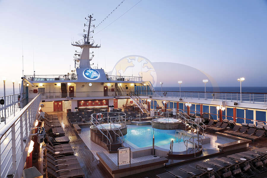 Pool Deck at sunrise - Deck 9 & 10 Midship Azamara Journey - Azamara Club Cruises