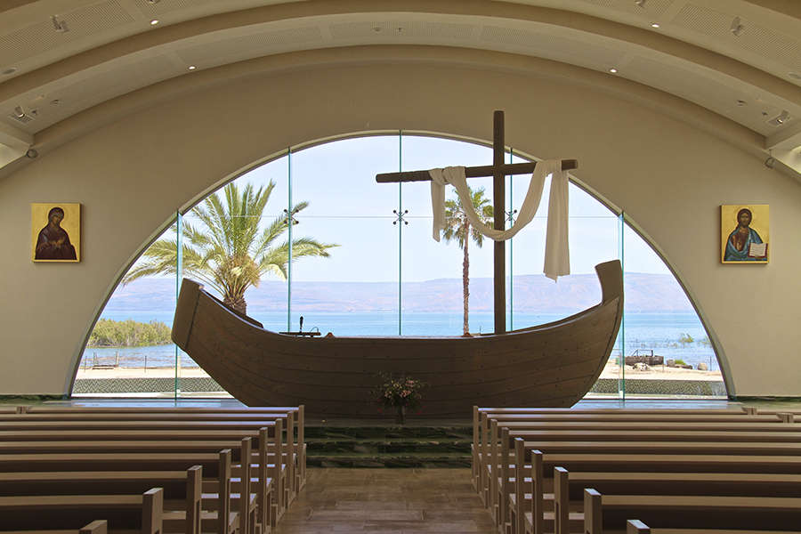 The famous boat chapel found in Magdala facing the Sea of Galilee